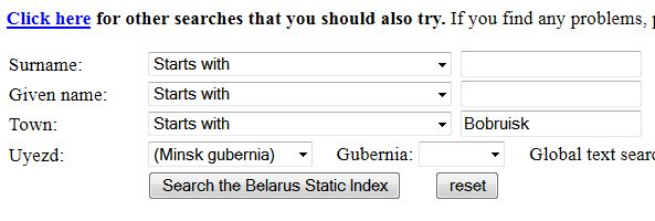 Static Belarus database search form