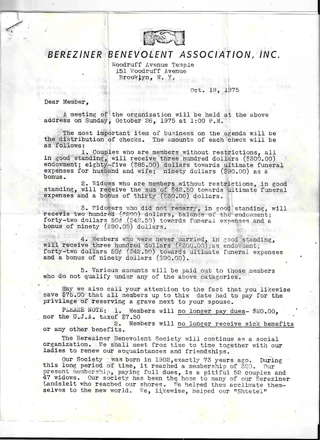 Letter (p 1) ending the Association  Donated by Beverly Chodos Bord