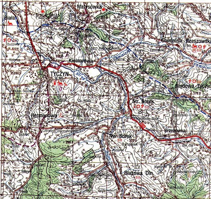 Topographical Map Of Tyczyn - Topographical map