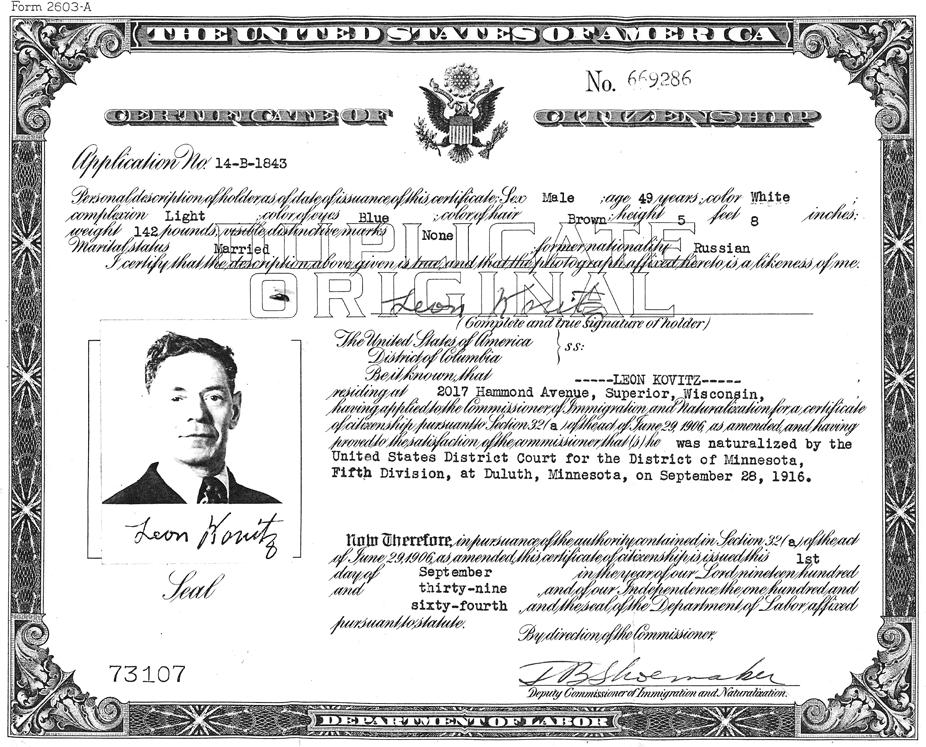 Leon Later Louis Lovitz Certificate Of Us Citizenship 1939