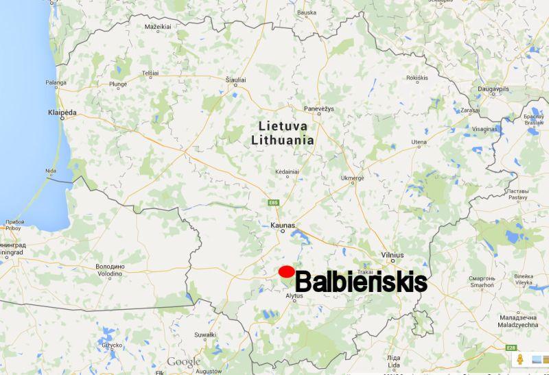 Balbieriskis On The Map - Kaunas map