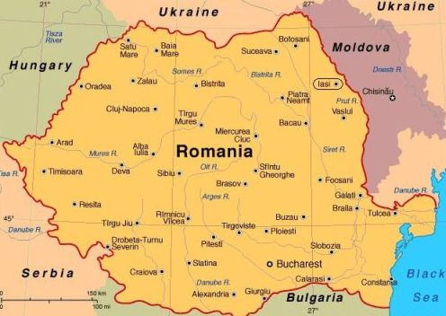 Map of Modern-Day Romania