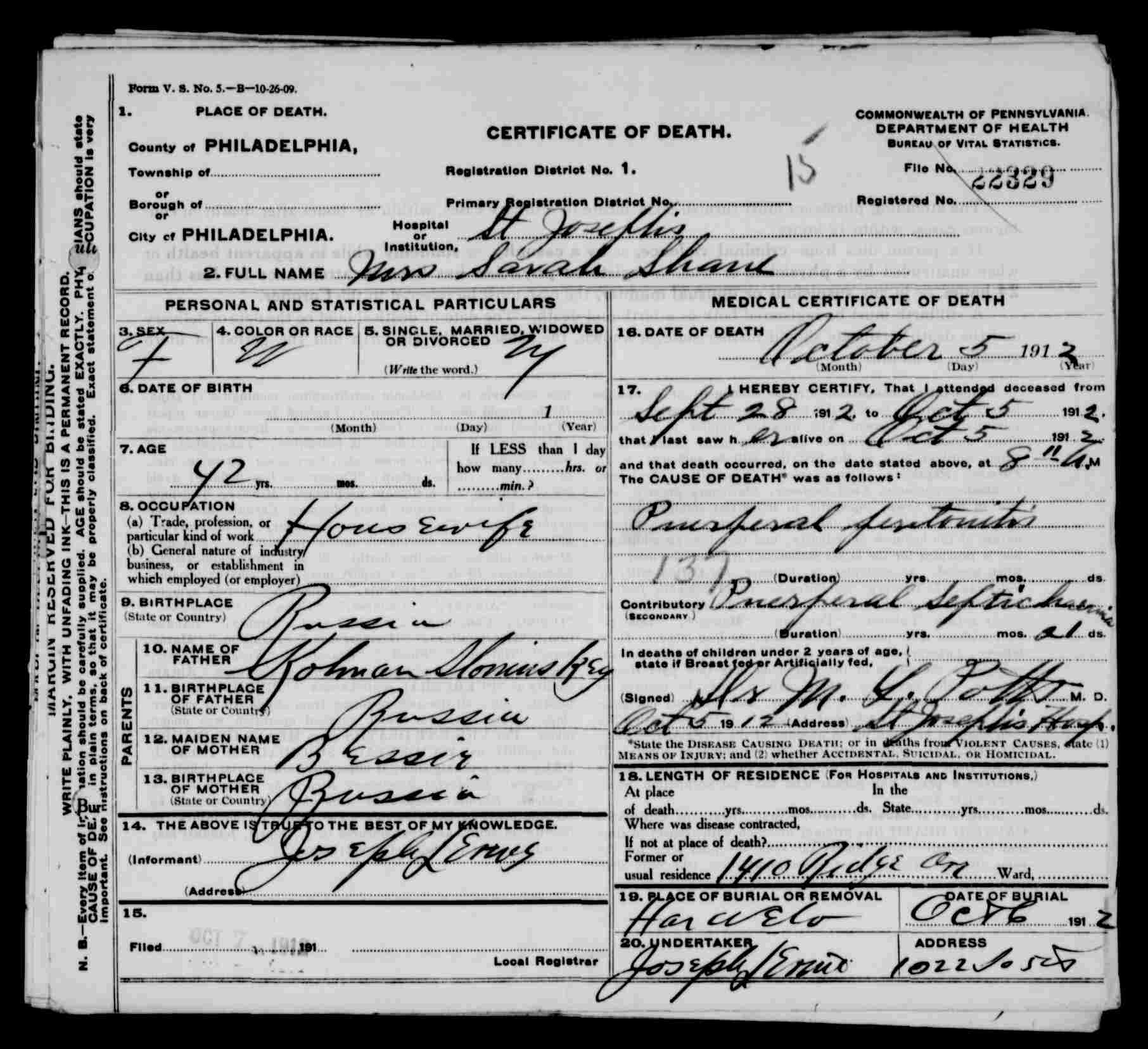 Death Certificates4, Lechovicher Death Certificates From