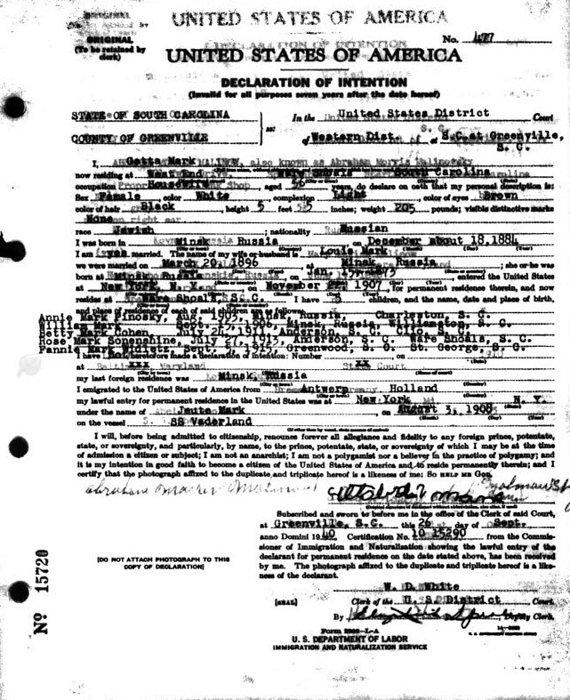 US Naturalization Records With Info About Lyakhovichi Natives