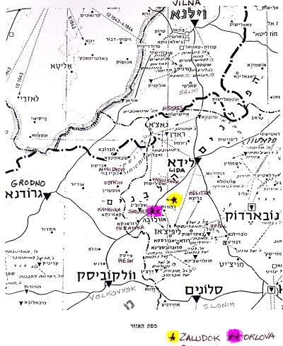 Lida uezd map from yizkor