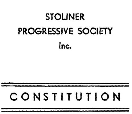 The Stoliner Progressive Society Landsmanschaften