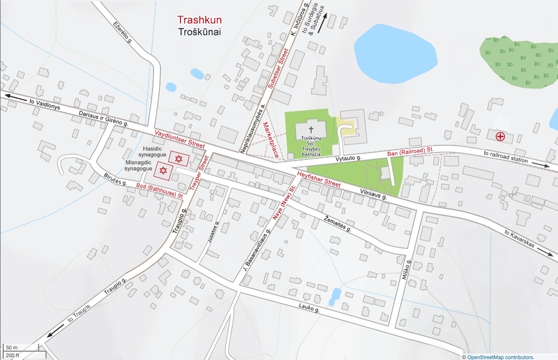 Map of Trashkun Troskunai Lithuania with street names used by